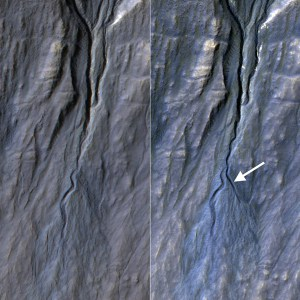 This pair of before (left) and after (right) images from the High Resolution Imaging Science Experiment (HiRISE) camera on NASA's Mars Reconnaissance Orbiter documents formation of a new channel on a Martian slope between 2010 and 2013, likely resulting from activity of carbon-dioxide frost. Credit: NASA/JPL-Caltech/Univ. of Arizona